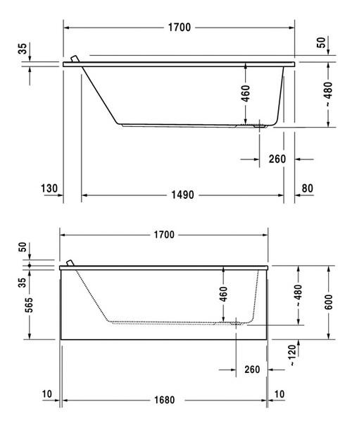 Additional image of Duravit Starck 1700x900mm Rectangular Bath