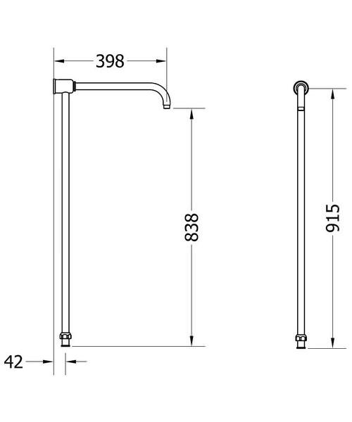 Additional image of Crosswater Belgravia Chrome Thermostatic Rigid Riser - Handset And Bracket