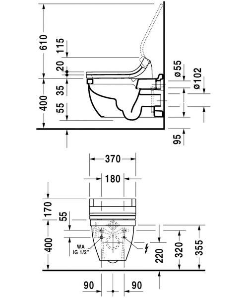 Alternate image of Duravit Starck 3 Wall Mounted Toilet With SensoWash Seat