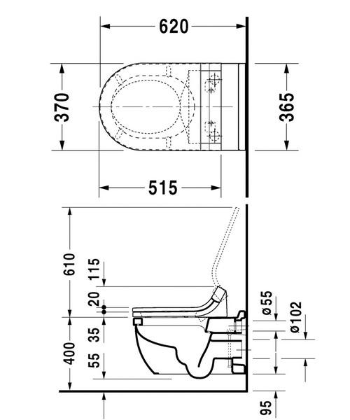 Additional image of Duravit Starck 3 Wall Mounted Toilet With SensoWash Seat