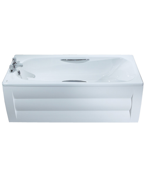 Additional image of Twyford Shallow Slip Resistant Steel Bath With Grips 1500 x 700mm