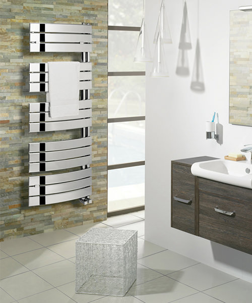 Alternate image of Bauhaus Essence 550x1380mm Anthracite Curved Flat Panel Towel Rail