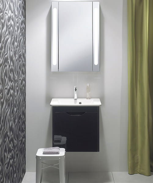 Alternate image of Bauhaus Aluminium 550 x 800mm Single Door Mirrored Cabinet