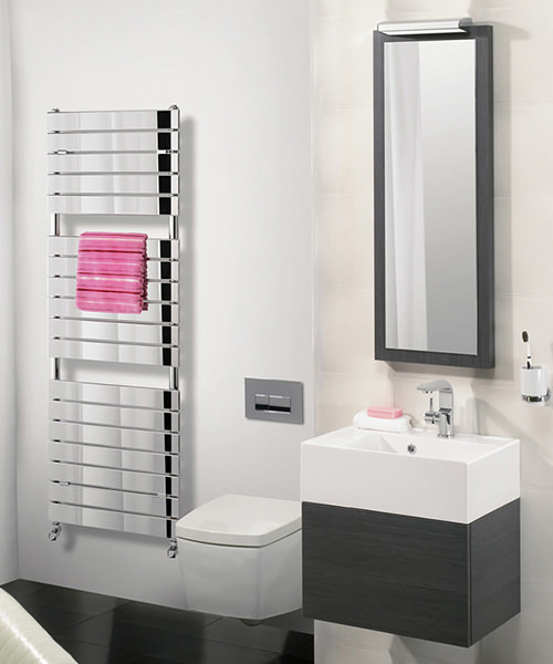 Alternate image of Bauhaus Elite 500x1510mm Chrome Flat Panel On Tube Towel Rail