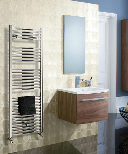 Additional image of Bauhaus Stream 500 x 1430mm Curved Panel Towel Rail