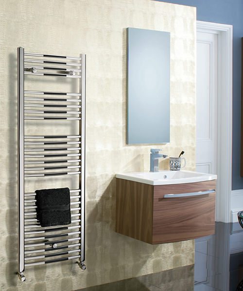 Additional image of Bauhaus Stream 500 x 1700mm Curved Panel Towel Rail