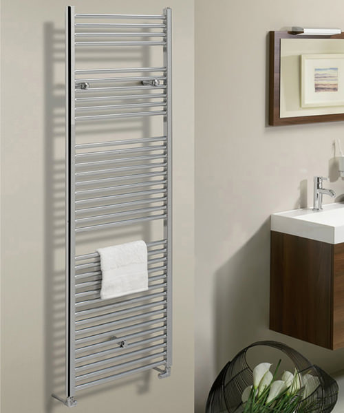 Additional image of Bauhaus Design 500 x 1110mm Flat Panel Chrome Towel Rail