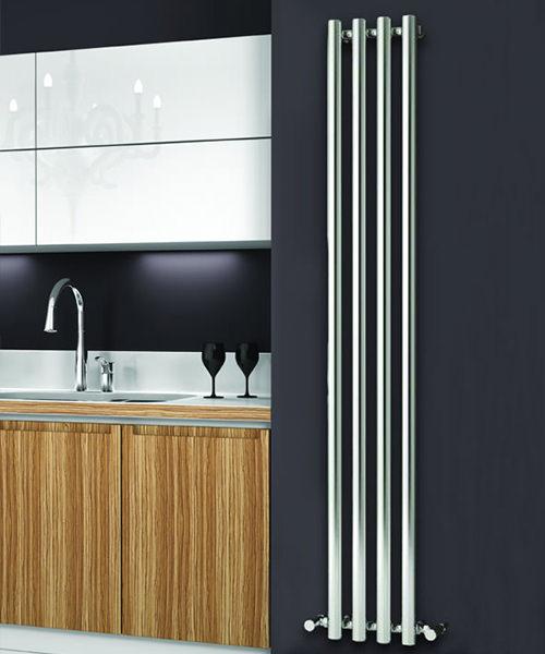 Alternate image of Reina Oria Chrome 270 x 1800mm Designer Vertical Radiator