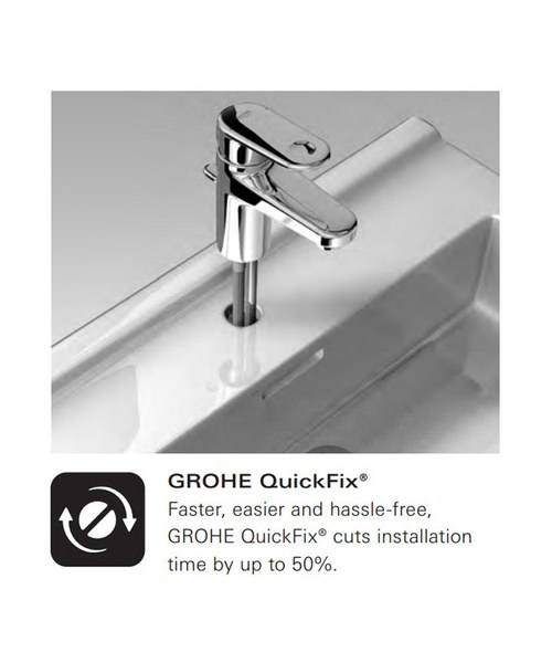 Additional image of Grohe Eurocube Deck Mounted 3 Hole Basin Mixer Tap With Metal Lever