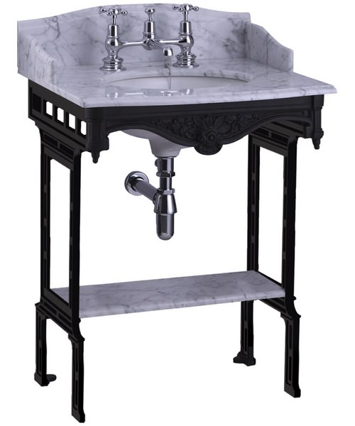 Additional image of Burlington Georgian Marble Basin With Black Aluminium Stand And Shelf