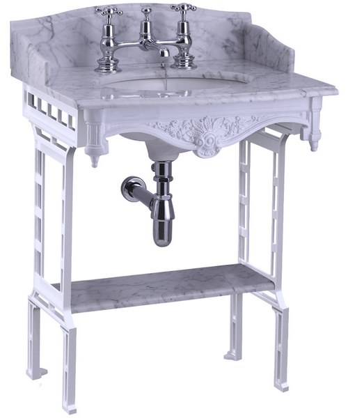 Additional image of Burlington Georgian Marble Basin With White Aluminium Stand And Shelf