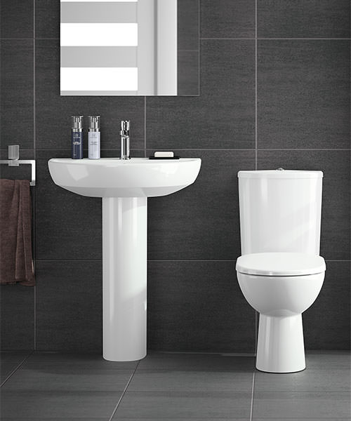 Additional image of Twyford E100 650 x 500mm Round 1 Tap Hole Washbasin With Full Pedestal