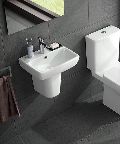 Twyford E100 450 x 350mm Square Handrinse Washbasin