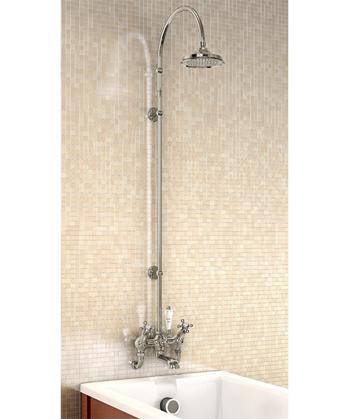 "Wall Mounted Angled Bath Shower Mixer - Curved Arm - 6"" Rose"