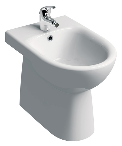 Twyford E100 Floorstanding Back-To-Wall Round Bidet With 1 Tap Hole