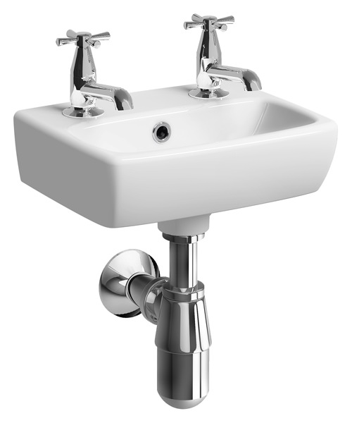 Twyford E100 Square 2 Tap Hole 360 x 280mm Handrinse Washbasin
