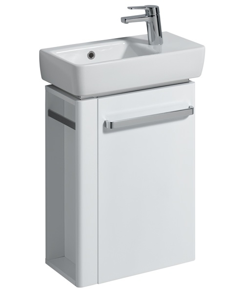 Twyford E200 448mm White Unit And 500mm Basin With LH Bowl And RH Tap Hole