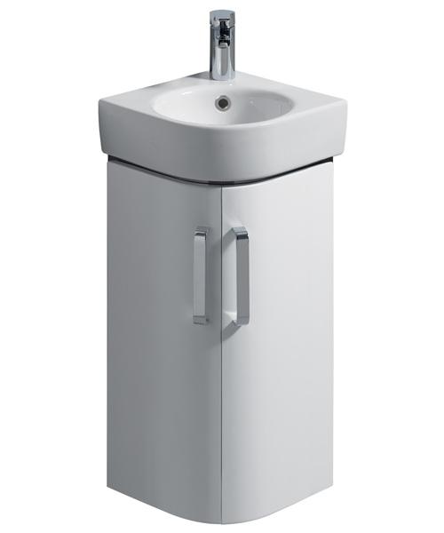 Twyford E200 425mm White Corner Unit With 320mm Handrinse Washbasin