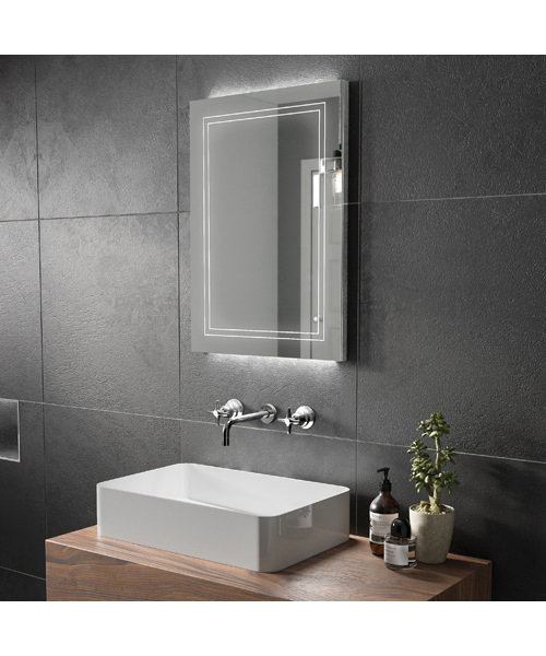 Additional image of HiB Outline 50 Bathroom Mirror With Back-Lit LED - W 500 x H 700mm