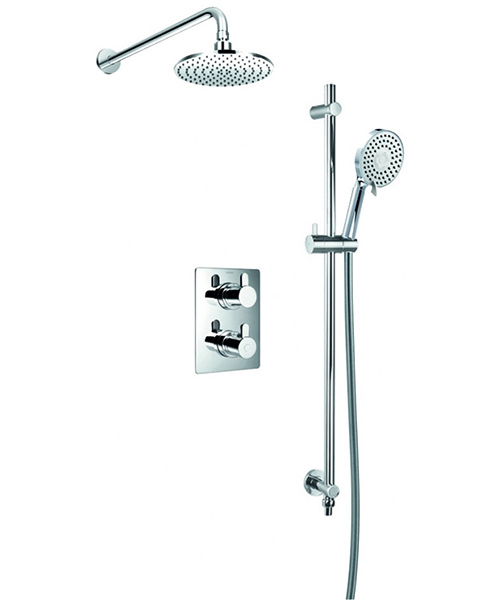 Flova Essence Concealed Thermostatic Valve With Slide Rail Kit And Overhead