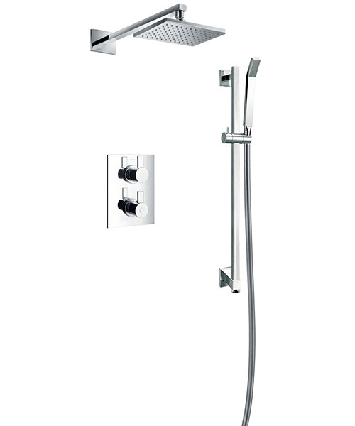 Flova Str8 Concealed Thermostatic 2 Way Diverter Valve With Overhead Shower And Slide Rail Kit