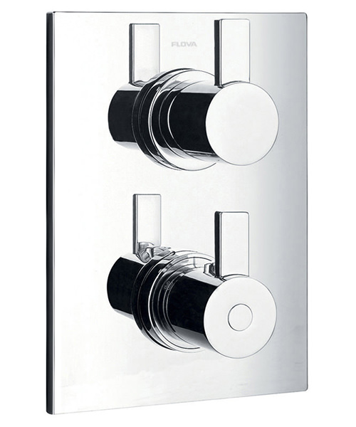 Additional image of Flova Str8 Concealed Thermostatic 2 Way Diverter Valve With Overhead Shower And Slide Rail Kit