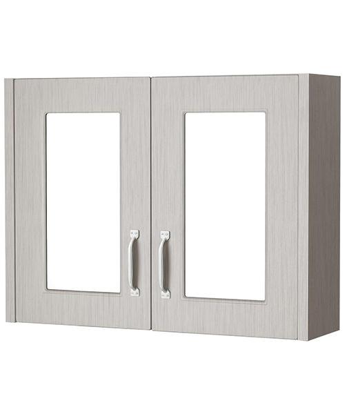 Premier York Stone Grey Woodgrain 800mm 2 Door Mirror Cabinet