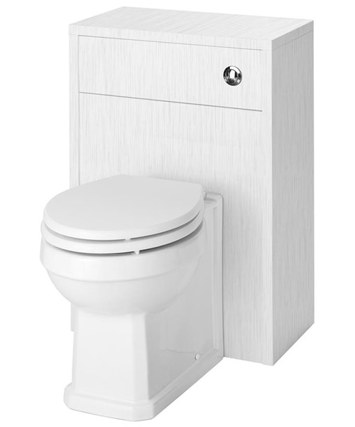 Nuie Premier York Porcelain White Ash 500mm Back-To-Wall WC Furniture Unit