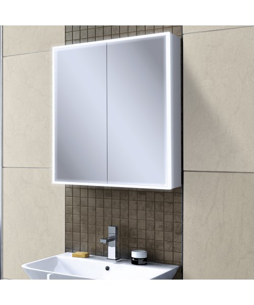 Additional image of HIB Qubic 60 Double Door LED Illuminated Aluminium Cabinet 600 x 700mm