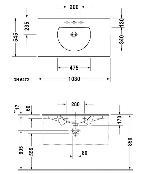 Alternate image of Duravit Darling New 530mm Wide Furniture Washbasin