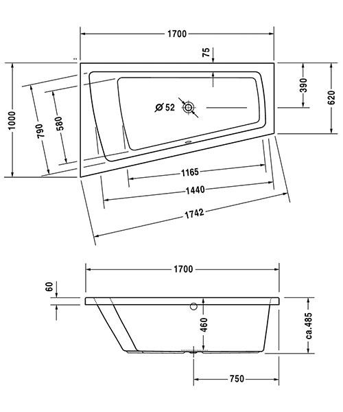 Additional image of Duravit Paiova 1700 x 1000mm Right-Left Backrest Slope Bath