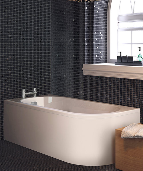 Nuie Premier Crescent 1700 x 725mm Back To Wall Acrylic Corner Bath White