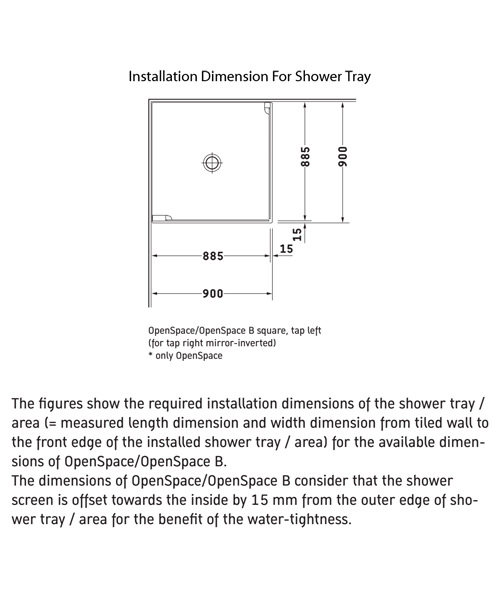 Additional image of Duravit OpenSpace 885 x 885mm Square Shower Screen For Tap On Left Side