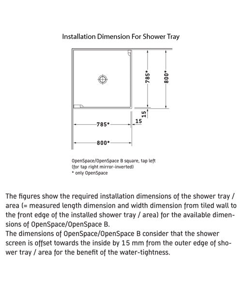 Additional image of Duravit OpenSpace 785 x 785mm Square Shower Screen For Tap On Left Side