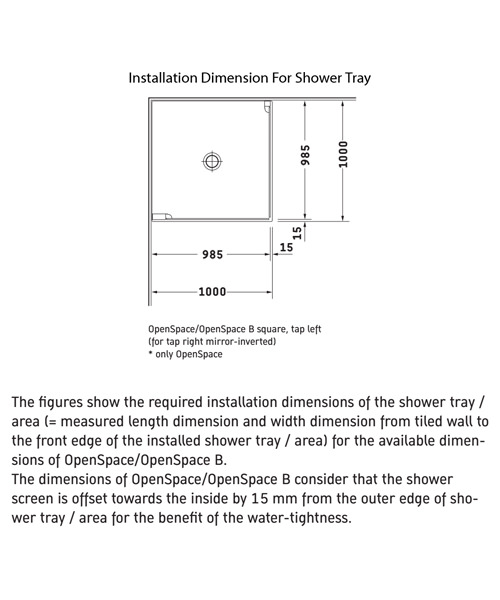 Additional image of Duravit OpenSpace 985 x 985mm Square Shower Screen For Tap On Left Side