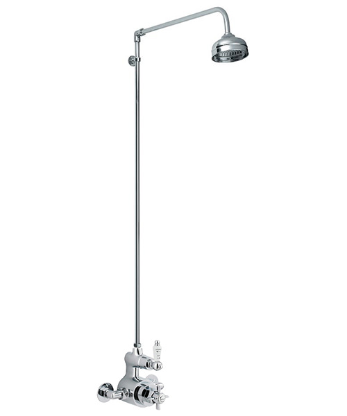 Nuie Premier Traditional Thermostatic Twin Shower Valve And Rigid Riser Kit