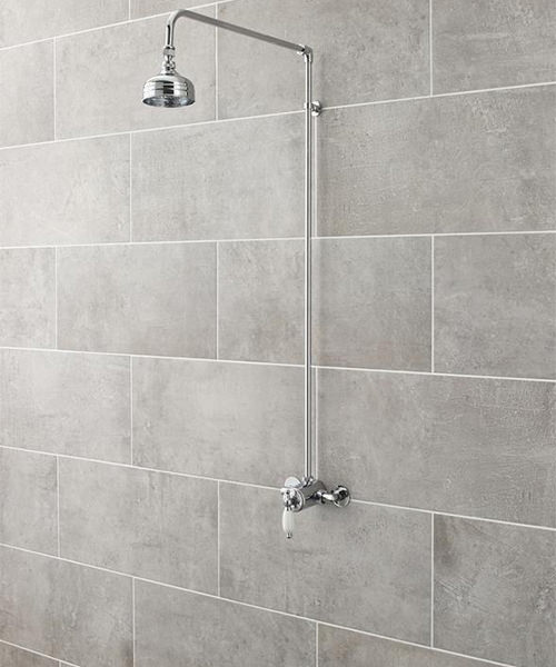 Additional image of Nuie Premier Traditional Thermostatic Twin Shower Valve And Rigid Riser Kit