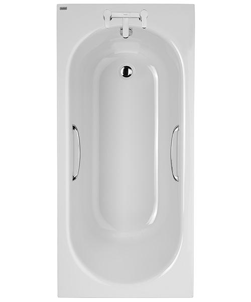 Twyford Opal 1500 x 700mm Plain 2 Tap Hole Acrylic Bath With Grips