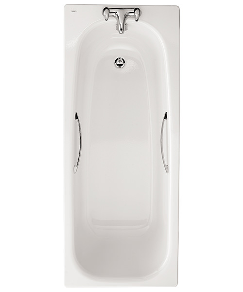 Twyford Neptune 1700 x 700mm Plain 2 Tap Hole Steel Bath With Grips