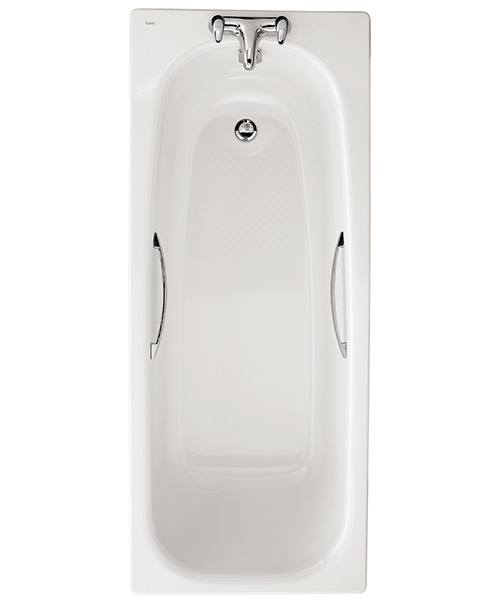 Twyford Neptune Slip Resistant 2 Tap Hole 1700 x 700mm Steel Bath With Grips