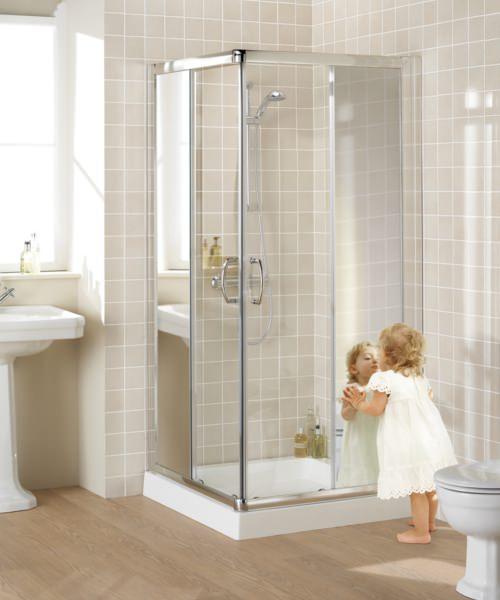 Lakes Mirror Glass Semi-Frameless Corner Entry Shower Enclosure 900mm