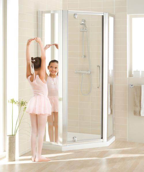 Lakes Mirror Glass Pentagon Enclosure With Bi-fold Or Pivot Door Option