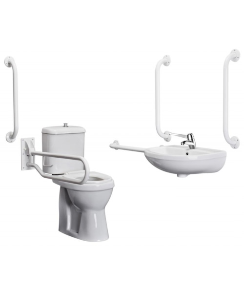 Bristan DocM Close Coupled WC Pack With Basin Mixer Tap White