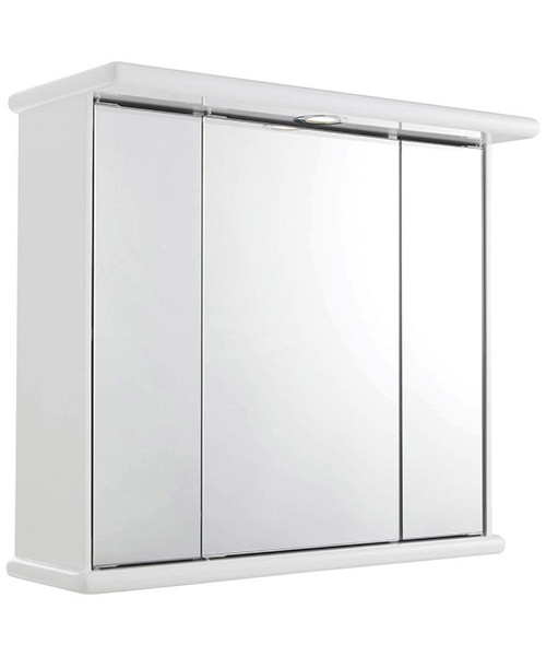 Lauren cryptic 700mm triple door mirrored cabinet with light for Kitchen cabinets 700mm