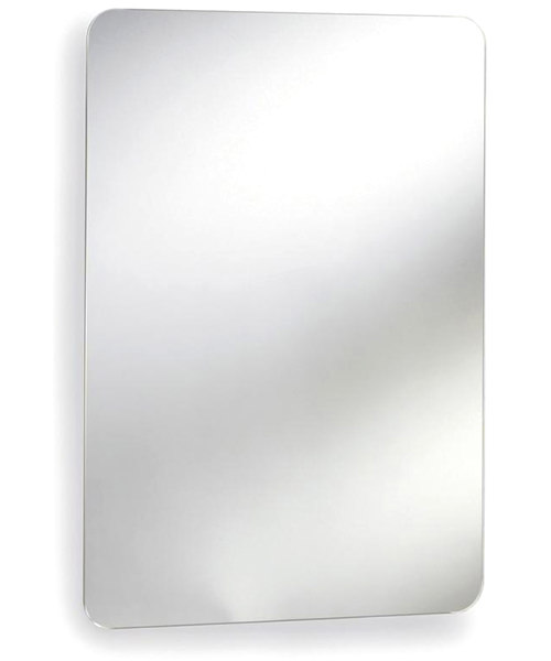 Lauren Image 460mm Stainless Steel Mirrored Cabinet With Hinged Door