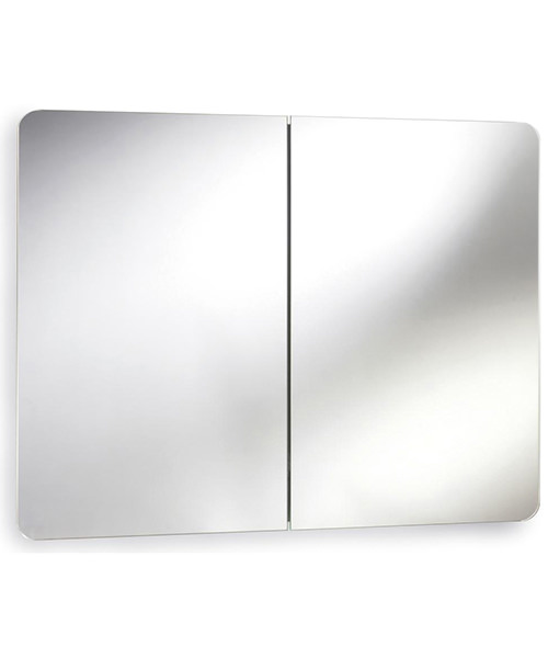 Premier Mimic 800mm Stainless Steel Double Mirrored Cabinet With Hinged Door