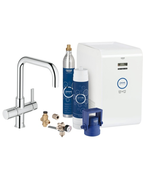 Grohe Blue Professional Kitchen Sink Mixer Tap With Starter Kit Chrome