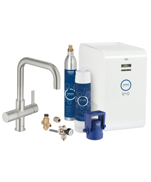 Grohe Blue Professional Kitchen Sink Mixer Tap With Starter Kit Supersteel