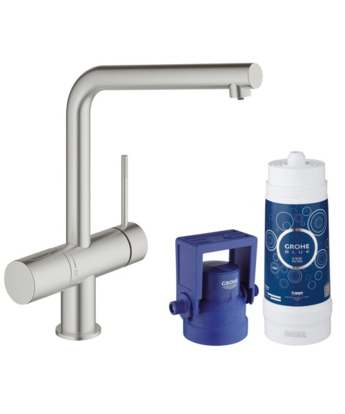 Grohe Blue Minta Single Lever Sink Mixer With Filter Function Supersteel