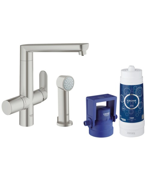 Grohe Blue Pure Kitchen Sink Mixer Tap With Starter Kit Supersteel